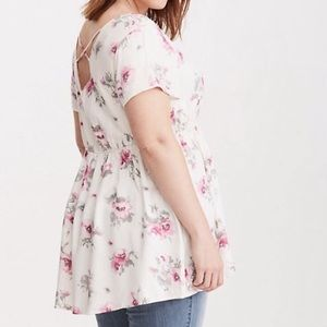 Torrid Size 4 Floral Baby Doll top Cross Back